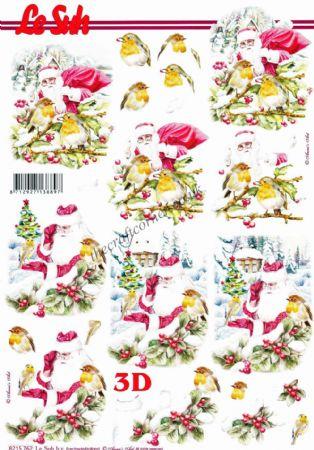 Father Christmas & Robins 3D Decoupage Sheet From Le Suh